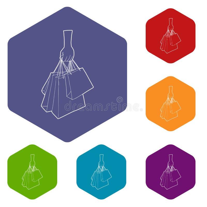 Una mano que lleva a cabo el hexahedron del vector de los iconos de los bolsos de compras ilustración del vector