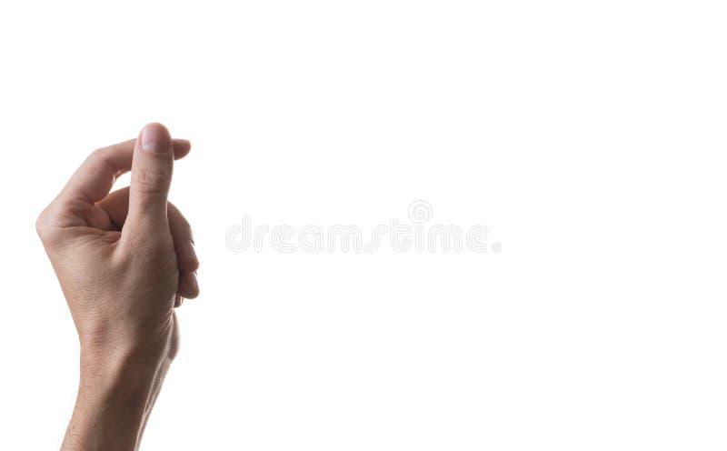 Una mano tiene un biglietto da visita virtuale fotografia stock libera da diritti
