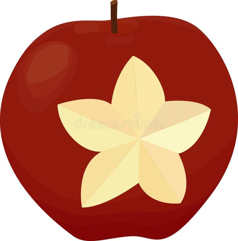 Una manzana con una estrella tallada Manzana roja aislada en blanco stock de ilustración