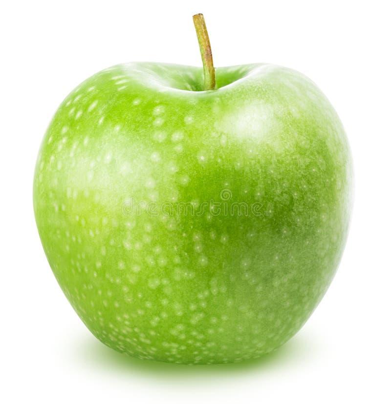 Una manzana verde aislada en un fondo blanco fotos de archivo