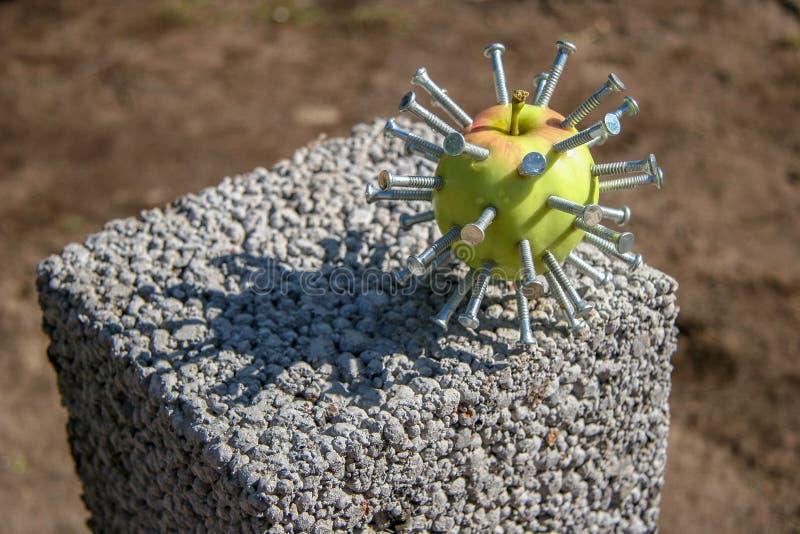 Una manzana verde con los clavos pegados como una cabeza en una película Hellraiser miente en un bloque en un día soleado imagenes de archivo