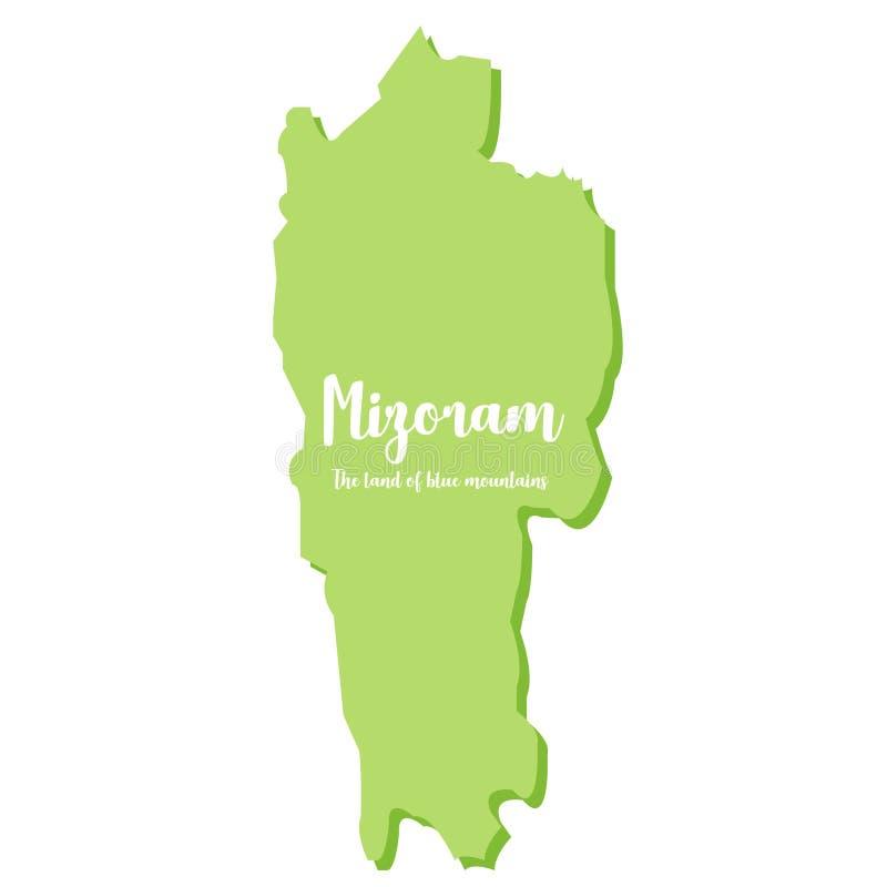 Una mappa dello stato di nordest del Mizoram in India Questo stato è chiamato la terra delle montagne blu - vettore royalty illustrazione gratis