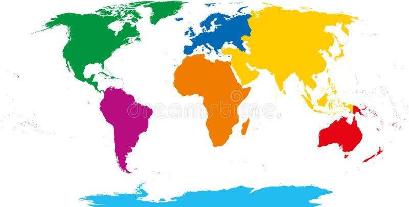 Una mappa di sette continenti royalty illustrazione gratis