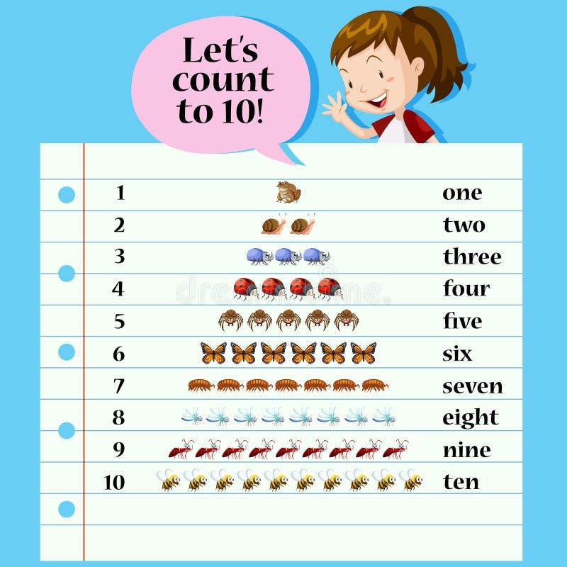 Una matemáticas que cuenta la tarjeta libre illustration