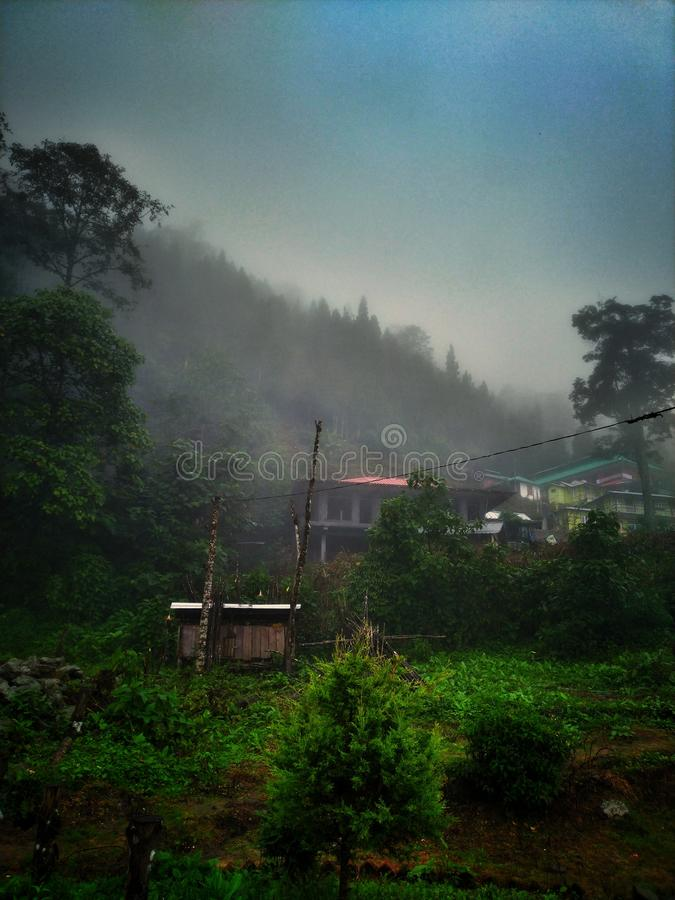 Una mattina nebbiosa, le toppe verde-cupo e le piccole case della collina fotografia stock