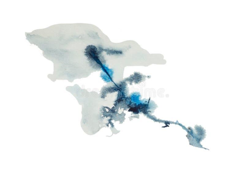 Una mezcla de pintura azul y blanca, ombre, a saber el re-teñido de un color en otro ilustración del vector