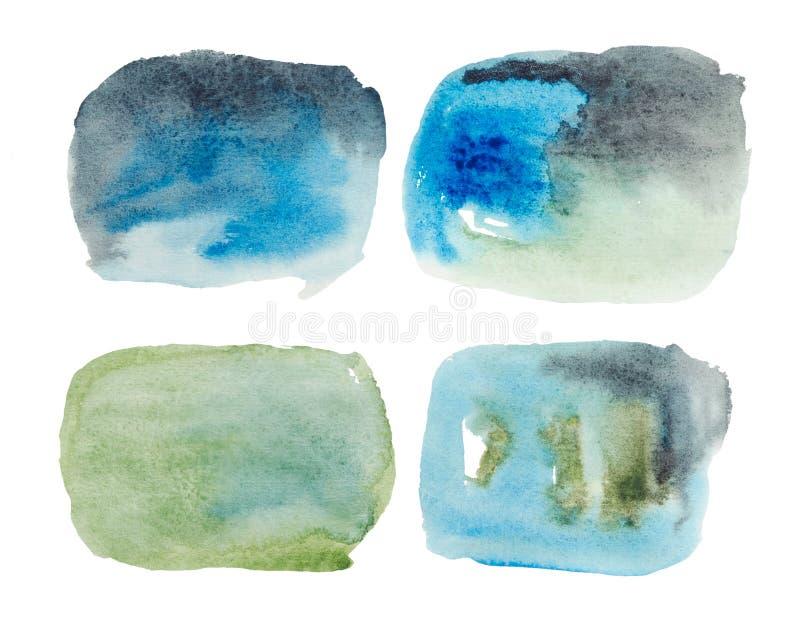 Una mezcla de pintura azul y verde, ombre, a saber el re-teñido de un color en otro libre illustration