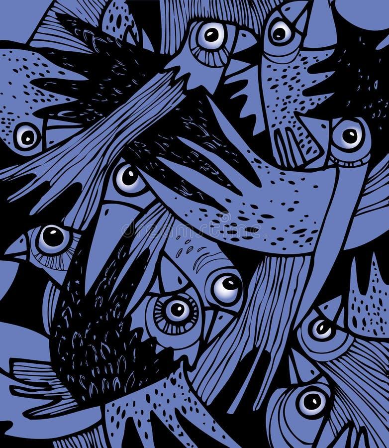 Una moltitudine di corvi spaventati. illustrazione di stock
