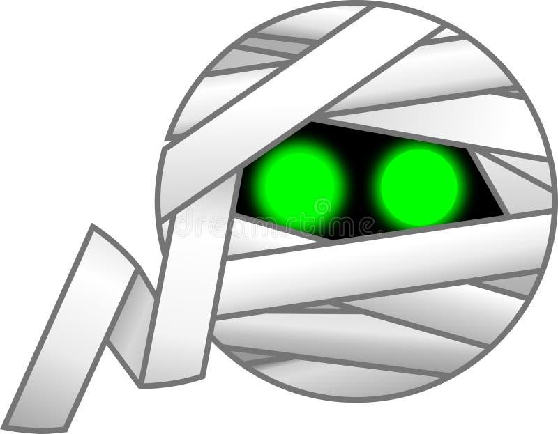 Una momia blanca envuelta para arriba con los ojos verdes fotos de archivo