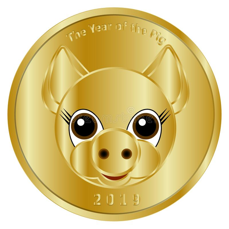 Una moneda de oro festiva, una medalla o un dedicado simbólico al Año Nuevo 2019, el año del cerdo Se diseña para felicitar clo d stock de ilustración