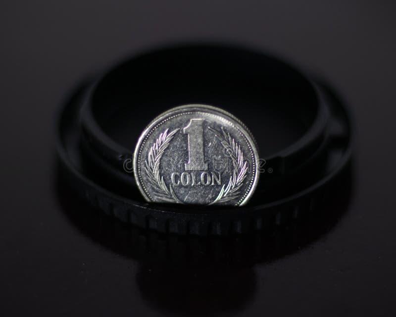 Una moneta d'argento dei due punti fotografia stock