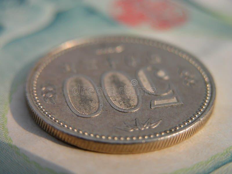 una moneta da 500 Yen fotografia stock