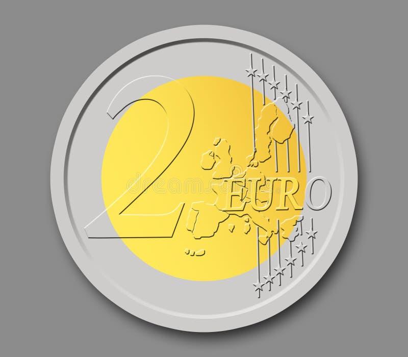 Una moneta dai 2 euro fotografie stock