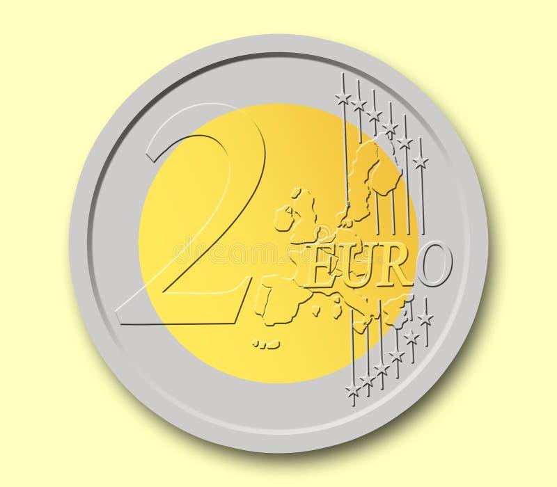 Una moneta dai 2 euro fotografia stock libera da diritti