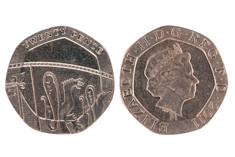 Una moneta dei venti penny fotografia stock