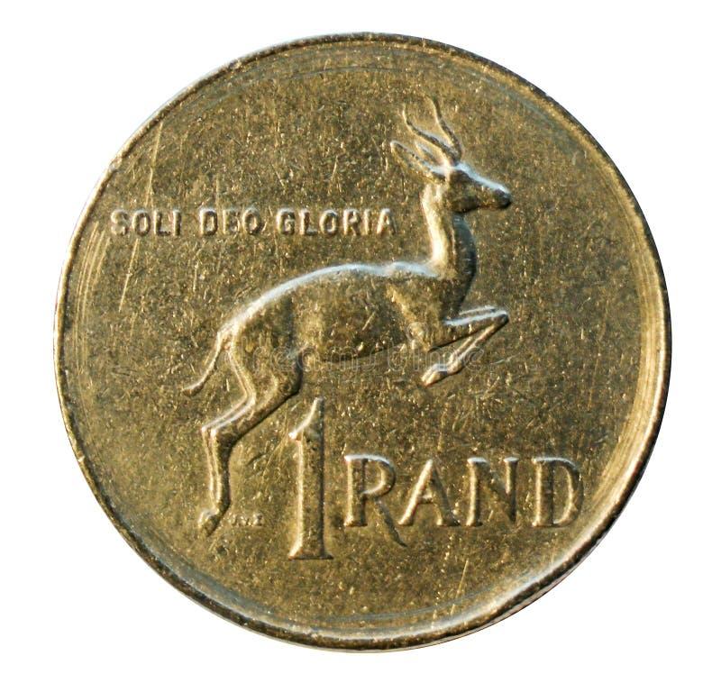 Una moneta del bordo isolata su bianco La Sudafrica 1977 fotografie stock