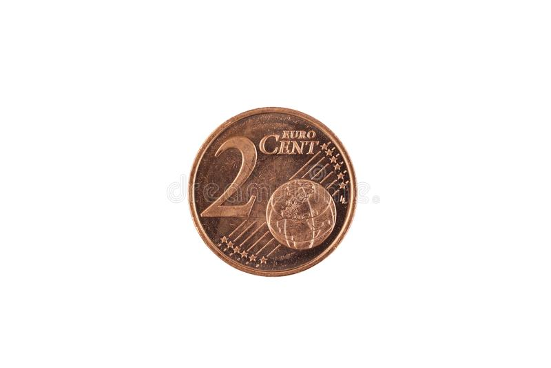 Una moneta del centesimo un euro isolata su un fondo bianco immagine stock libera da diritti