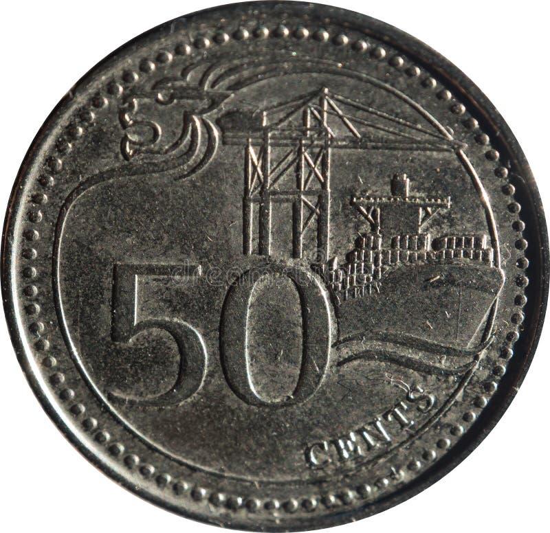 Una moneta del cinquanta-centesimo di Singapore caratterizza il motivo della Leone-testa, il porto di Singapore e la denominazion immagine stock