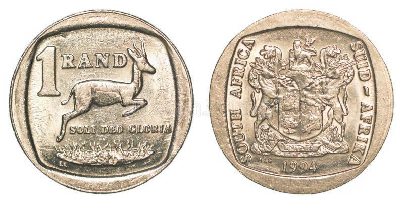 Una moneta del Rand sudafricano immagini stock libere da diritti