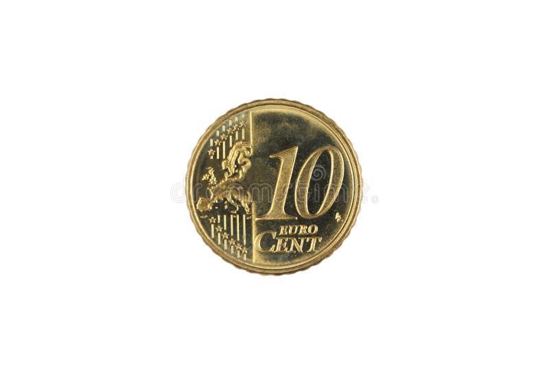 Una moneta dell'euro centesimo dieci isolata su un fondo bianco fotografia stock libera da diritti