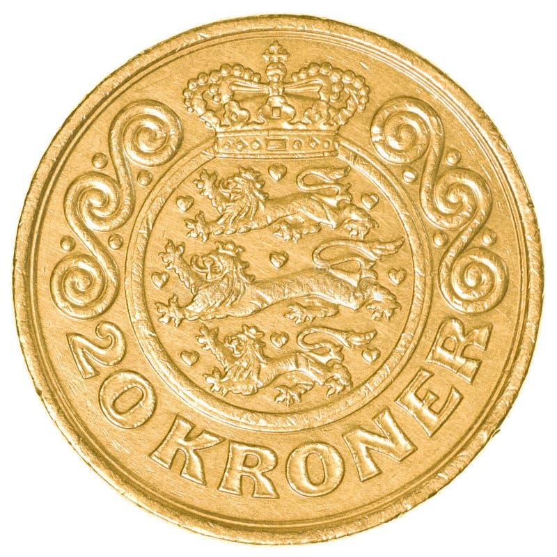 una moneta di 20 corone danesi fotografie stock