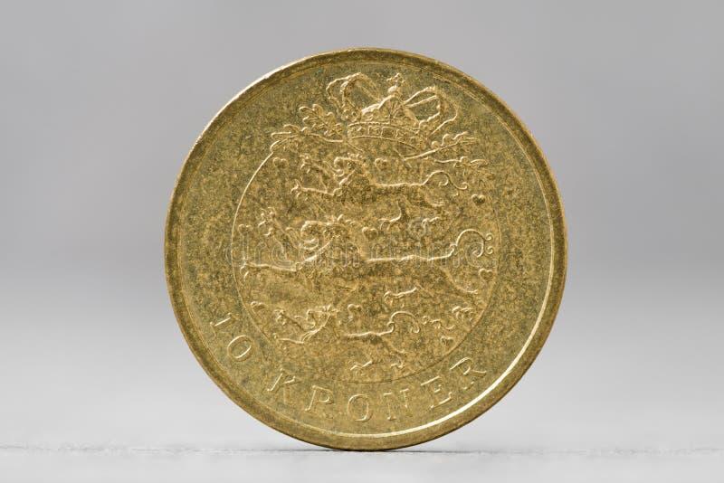 una moneta di 10 corone danesi fotografia stock libera da diritti