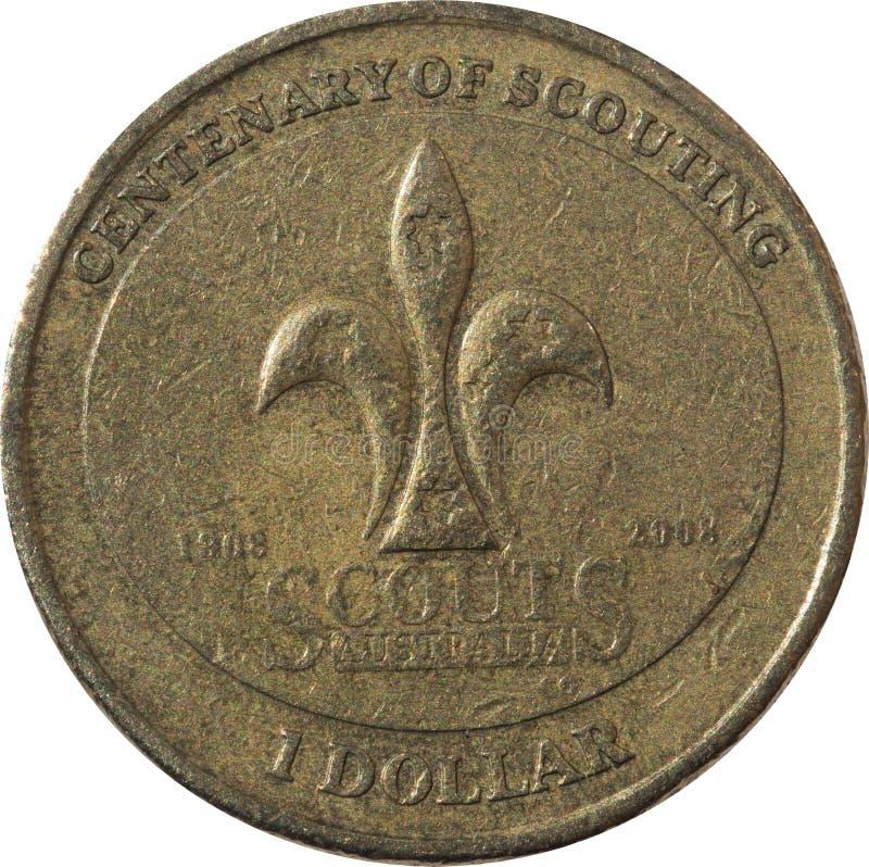 Una moneta di rame australiana del dollaro il centenario degli anni d'esplorazione 1908 - 2008 fotografia stock libera da diritti