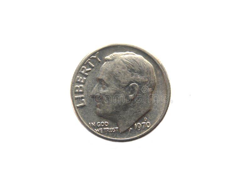 Una moneta di U.S.A. della moneta da dieci centesimi di dollaro fotografia stock libera da diritti
