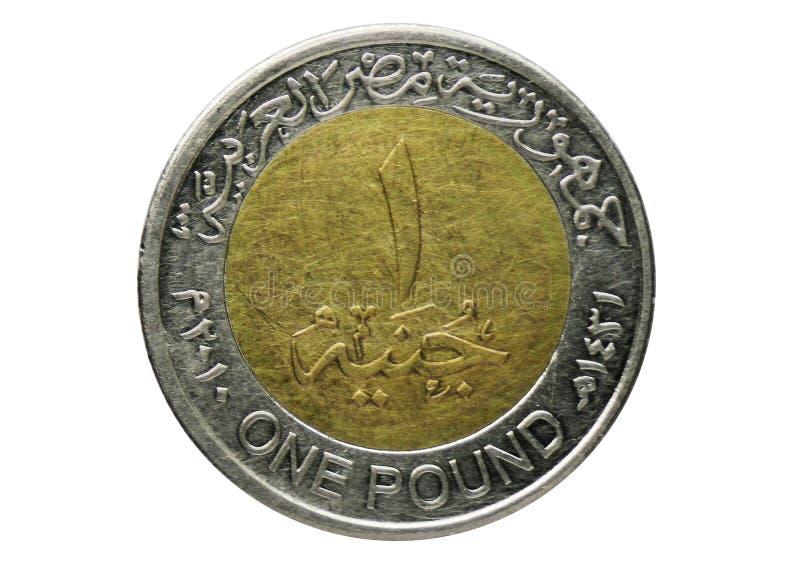 Una moneta non magnetica da 1 libbra, la Banca dell'Egitto Complemento, pubblicato del 2005 immagini stock libere da diritti