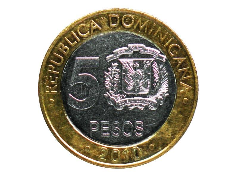 Una moneta non magnetica da 5 pesi, la Banca della Repubblica dominicana Complemento, edizione del 2008 immagini stock