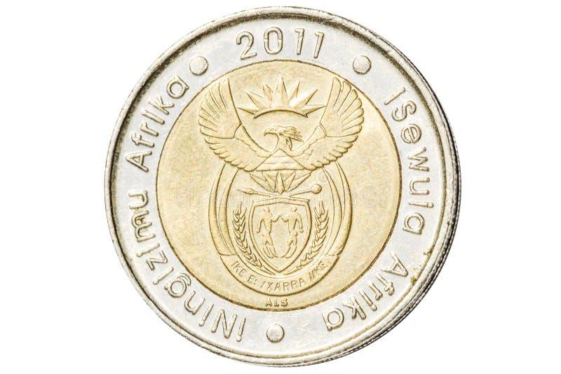 Una moneta sudafricana da cinque bordi immagine stock libera da diritti