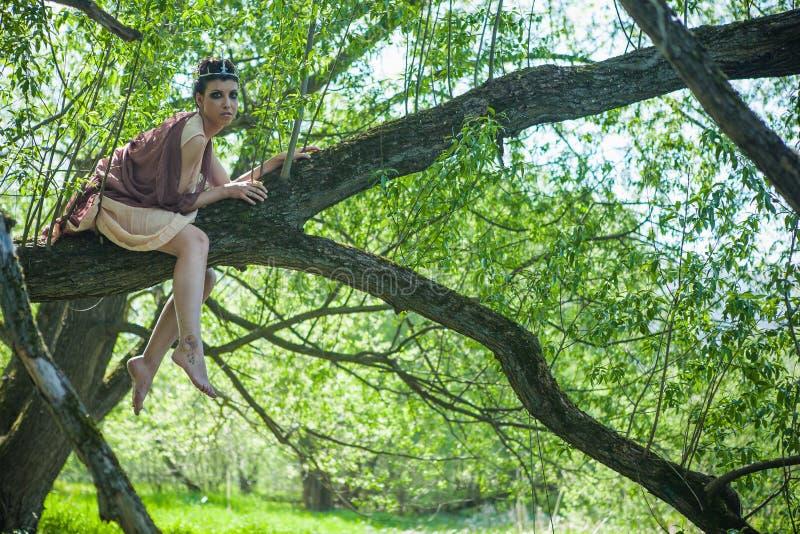 Una morenita fina en un vestido marrón con una corona en su cabeza miente en una rama de árbol cerca de una charca del bosque imagenes de archivo