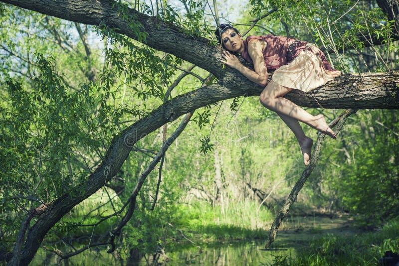 Una morenita fina en un vestido marrón con una corona en su cabeza miente en una rama de árbol cerca de una charca del bosque foto de archivo
