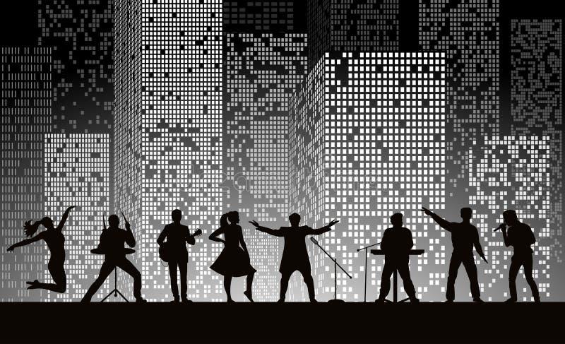 Una a mostra no fundo da cidade da noite no estilo cinzento Conceito do festival ilustração stock
