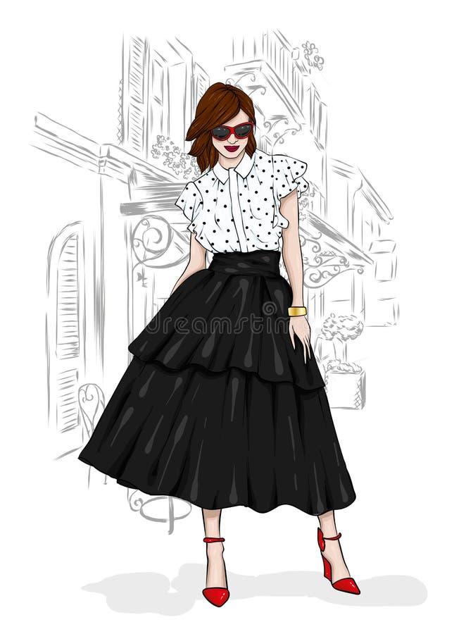 Una muchacha alta, delgada en una falda de Midi, una blusa, zapatos de tacón alto y un embrague Ilustración del vector Ropa y acc stock de ilustración