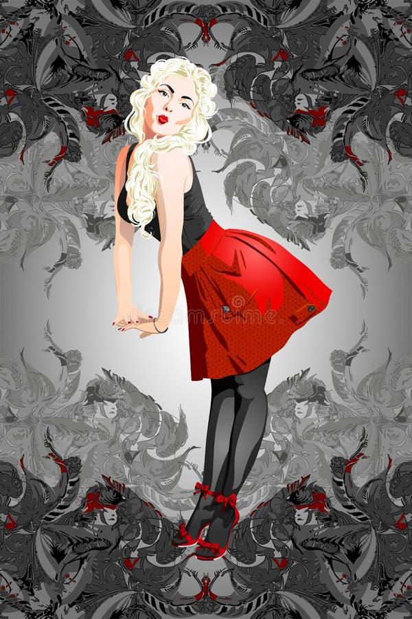 Una muchacha atractiva del perno-para arriba con el pelo rubio stock de ilustración