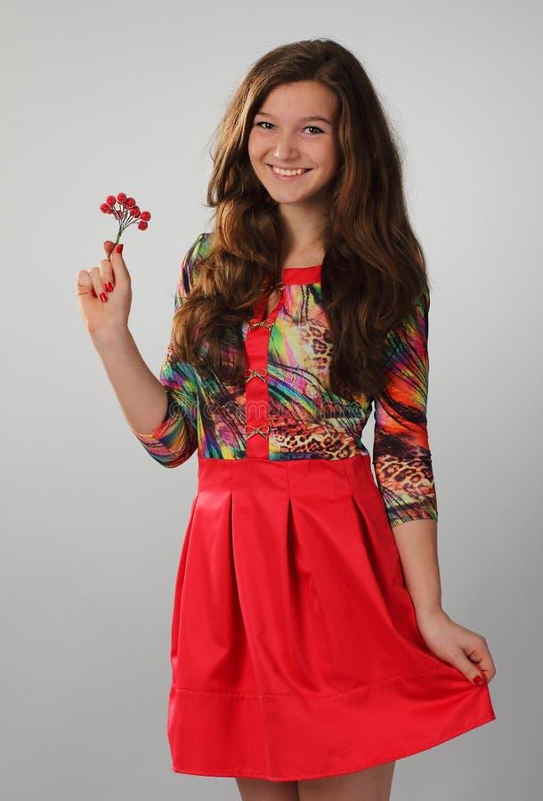 Una muchacha bonita en un vestido rojo con el pelo marrón largo hermoso Pho foto de archivo libre de regalías