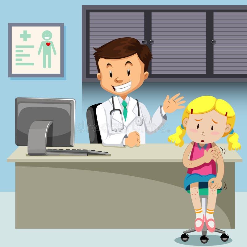 Una muchacha con el doctor de la reunión de la varicela ilustración del vector