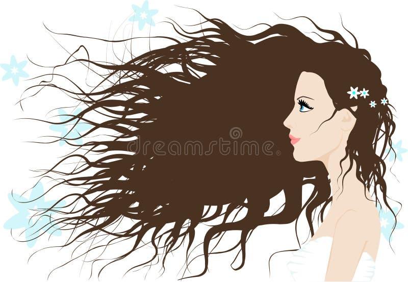 Una muchacha con el pelo largo foto de archivo
