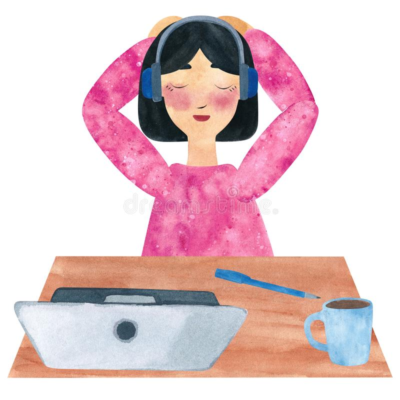 Una muchacha con el pelo recto oscuro en el rosa, escuchando la reflexión en una pausa stock de ilustración