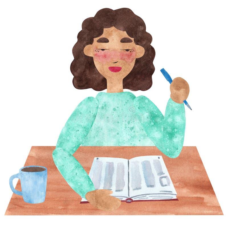 Una muchacha con el pelo recto oscuro en rosa, teniendo descanso para tomar café stock de ilustración