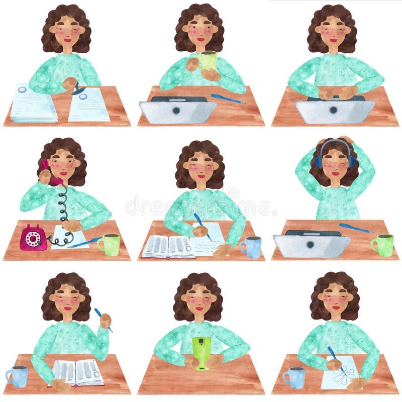 Una muchacha con el pelo rizado oscuro en azul, sistema de la oficina y actividades de la universidad stock de ilustración