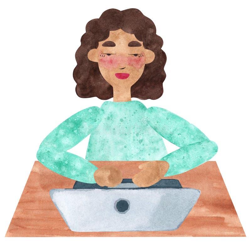 Una muchacha con el pelo rizado oscuro en el azul, trabajando en el ordenador portátil stock de ilustración