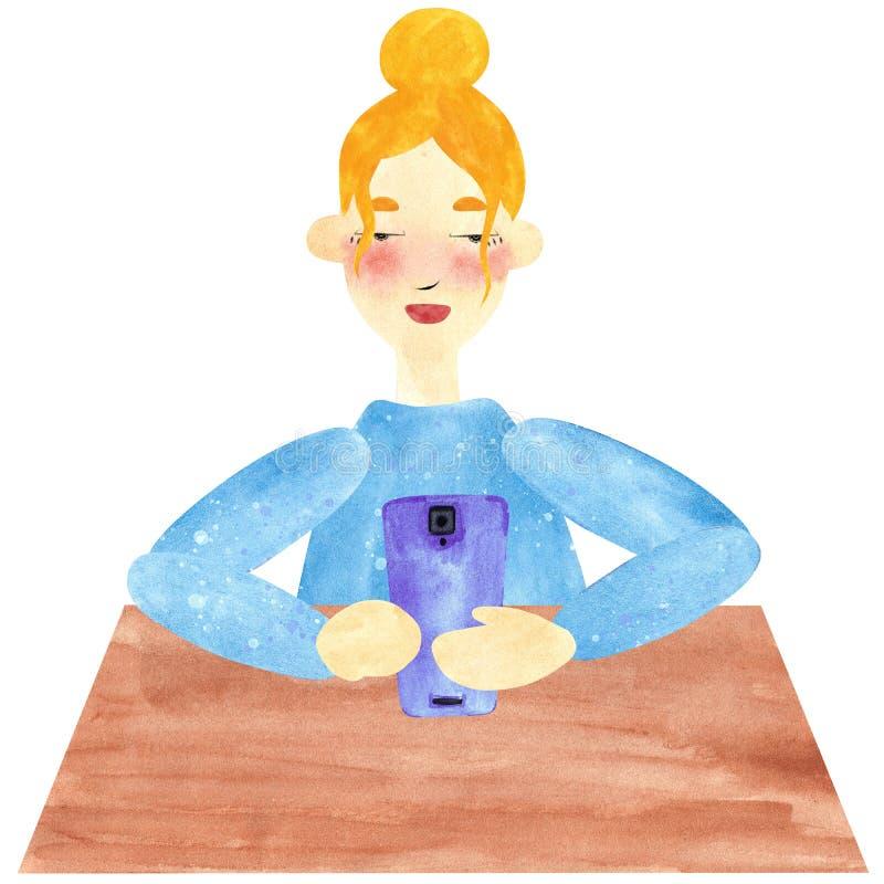 Una muchacha con el pelo rubio en azul, serfing en Internet ilustración del vector
