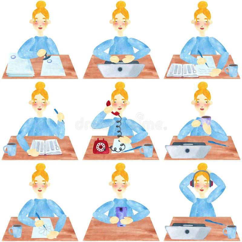 Una muchacha con el pelo rubio en azul, sistema de la oficina y actividades de la universidad libre illustration