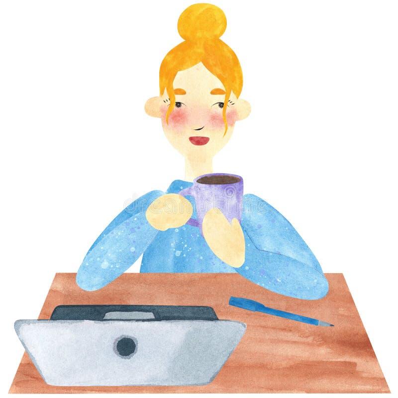 Una muchacha con el pelo rubio en azul, teniendo descanso para tomar café ilustración del vector