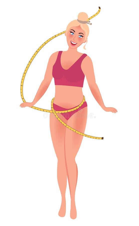 Una muchacha con una figura delgada mide el centímetro de la cintura Pérdida y deportes de peso Gráficos de vector de una forma d ilustración del vector