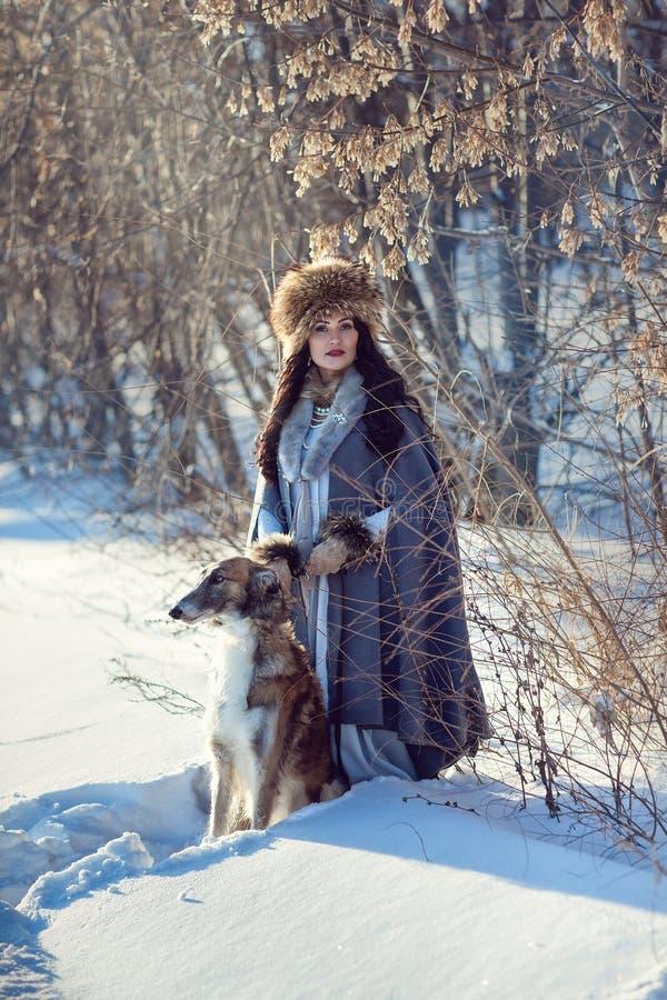 Una muchacha con los galgos en la nieve imagenes de archivo