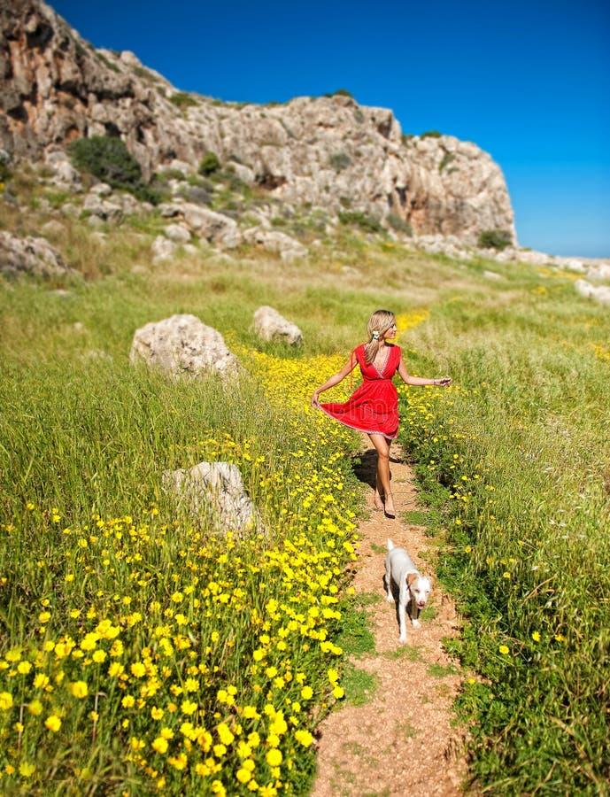 Una muchacha con su perro en un camino del verano, Chipre foto de archivo libre de regalías