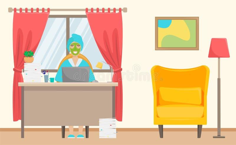 Una muchacha con una toalla en su cabeza y un facemask trabaja de hogar Trabajo remoto independiente libre illustration